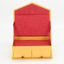 Papírová šperkovnice žlutá