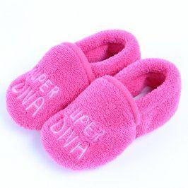Dětské bačkory růžové chlupaté