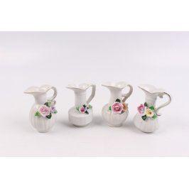 Sada porcelánových konviček s květy