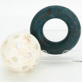 Gumový posilovač úchopu a florbalový míček