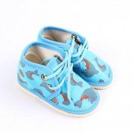 Dětské bačkory Pegres modré s delfíny