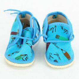 Dětské bačkory modré s pastelkami