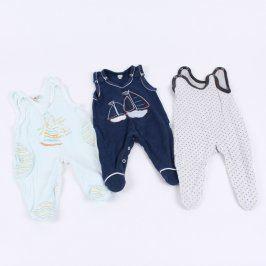 Dětské dupačky bílé a modré 3 ks