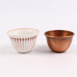 Sada 2 mističek z kovu a porcelánu