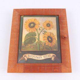 Uzamykatelná skříňka na klíče se slunečnicí