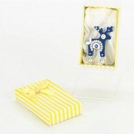 Brož jelen modrý v dárkové krabičce