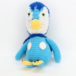 Háčkovaný tučňák modrý s pláštěm