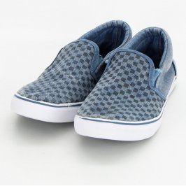 Dětské boty slip on modré čtverečkované