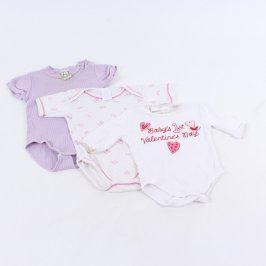 Dětská body fialové a bílo růžové 3 kusy