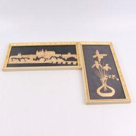 Dřevěný obraz Hradčany a květina