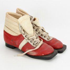 Běžkařské koženkové boty červené