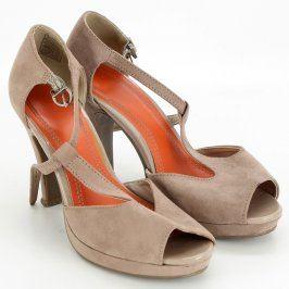 Dámské boty na podpatku odstín béžové