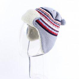 Dětská čepice modro šedá s proužky