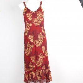 Dámské šaty na ramínka červené s motivy