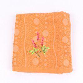 Ručník oranžový s květinou 130 x 64 cm