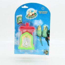 Krmítko se zrcadlem a hračkou pro papoušky