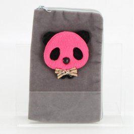 Pouzdro na zip s růžovou pandou plyšové šedé
