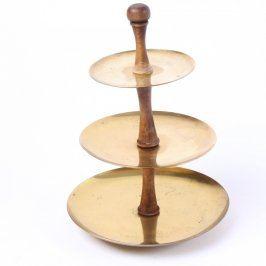 Servírovací talíř třípatrový zlatý