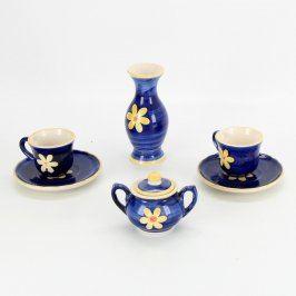 Keramická sada modré barvy s motivem květů