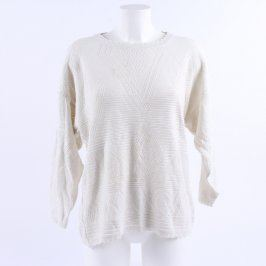 Dámský svetr bílý s pletenými vzory