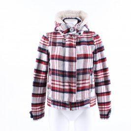 Dámská bunda bílo šedá kostkovaná s kapucí