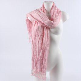 Dámský šátek světle růžový s třásněmi