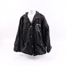 Dětská bunda černá s potiskem a kapucí