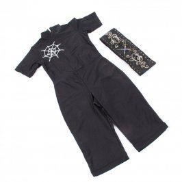 Dětský kostým černý s pavučinou a pás s meči