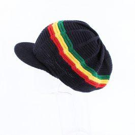 Čepice s kšiltem černá rasta motiv
