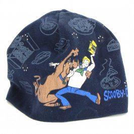 Dětská modrá čepice s nápisem Scooby Doo
