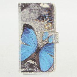Pouzdro na mobil šedé s modrým motýlem
