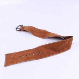 Dámský široký pásek kožený hnědý