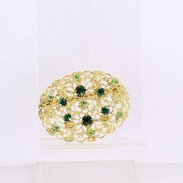 Brož pozlacená se zelenými kamínky