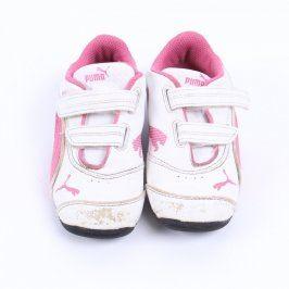 Dětské tenisky Puma bílo růžové na suchý zip