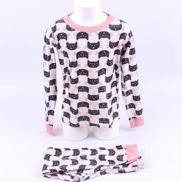Dětské pyžamo růžové s černými kočkami