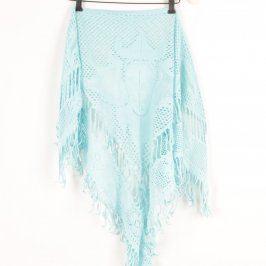 Dámský šál světle modrý s třásněmi