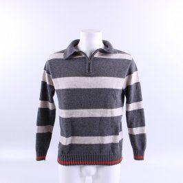 Pánský svetr bílo šedé pruhy