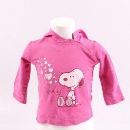 Dětská mikina růžové barvy se Snoopy