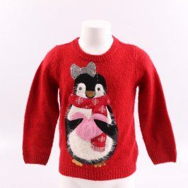 Dětský svetr TU červený s tučňákem