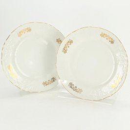 Porcelánové talíře se zlatým dekorem 2 ks