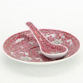 Čínská porcelánová miska a lžíce