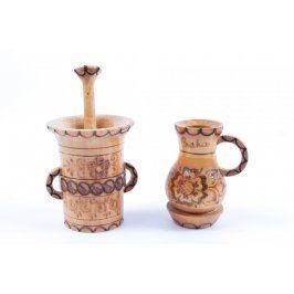 Dekorace dřevěný hmoždíř a váza