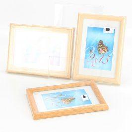 Dřevěné rámečky na fotky 3 kusy