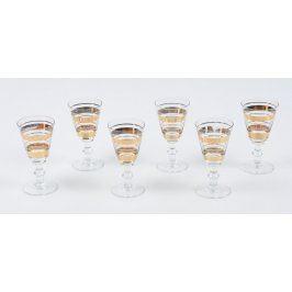 Sada ozdobných pozlacených sklenic