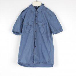 Pánská košile H&M modrá s černými knoflíky