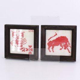 Dřevěné obrázky s vyšívanými znameními 12 ks