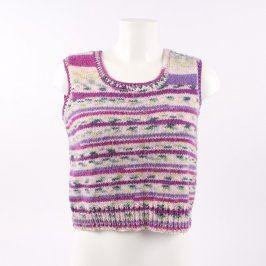 Dětská vesta pletená s fialovými proužky