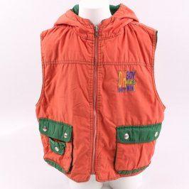 Dětská vesta odstín oranžové s kapucí