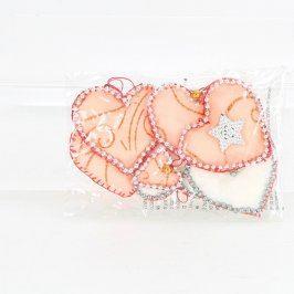 Dekorace ve tvaru textilních srdíček