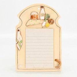 Dekorace kuchyňský zápisník keramický
